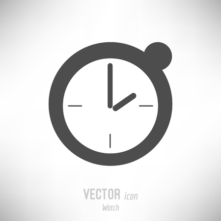 Vector illustration of flat design watch timer icon. dark grey Иллюстрация