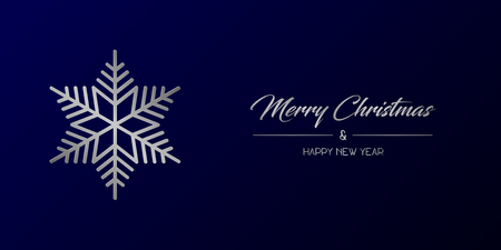 Vector illustration of wide greeting card with silver Merry Christmas and Happy New Year and flake on a dark blue background Иллюстрация