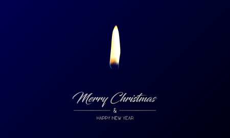 Vector illustration of centred greeting card with silver Merry Christmas and Happy New Year and realistic flame on a dark blue background Иллюстрация