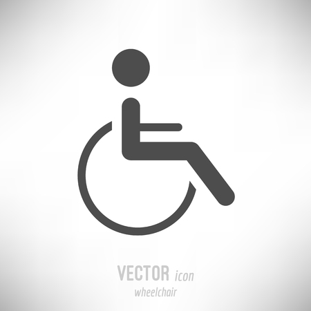Vector illustration of flat design wheelchair icon. dark grey Иллюстрация