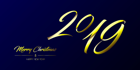 Vector illustration of wide greeting card with golden Merry Christmas and Happy New Year and number 2019 on a dark blue background