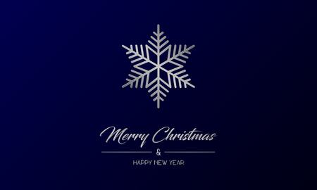 Vector illustration of centred greeting card with silver Merry Christmas and Happy New Year and flake on a dark blue background