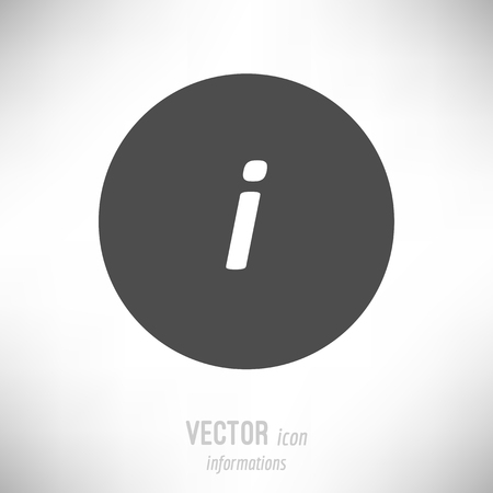 Vector illustration of flat design informations icon. dark grey Иллюстрация