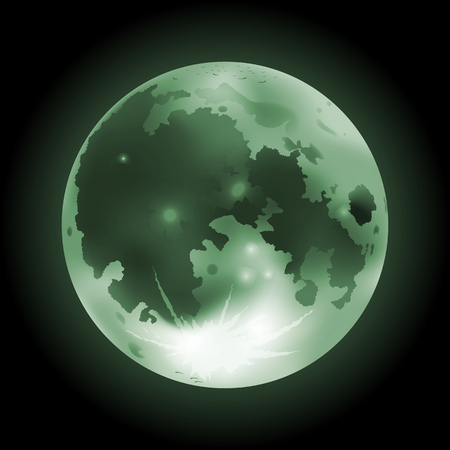 Vector illustration of green full Moon on a dark background