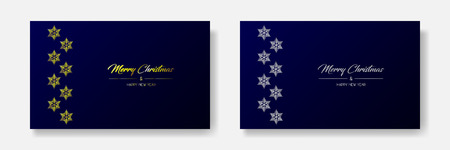 Vector illustration of two wide greeting cards with golden and silver  Merry Christmas and Happy New Year and flakes on the left. Dark blue background Иллюстрация