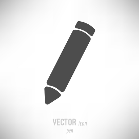 Vector illustration of flat design pen icon. dark grey Иллюстрация