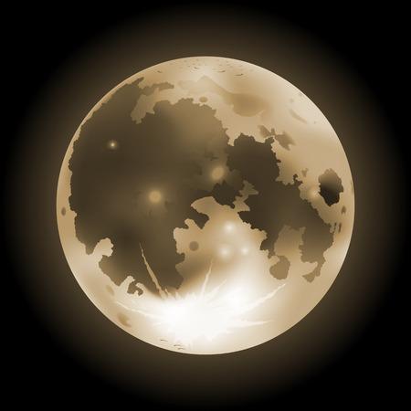 Vector illustration of orange full Moon on a dark background