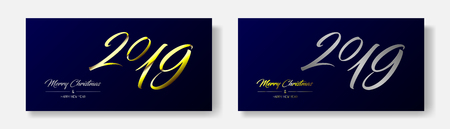 Vector illustration of two wide greeting cards with golden and silver  Merry Christmas and Happy New Year and number 2019. Dark blue background