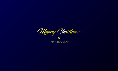 Vector illustration of simple centred greeting card with golden Merry Christmas and Happy New Year on a dark blue background