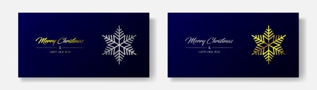 Vector illustration of two wide greeting cards with golden and silver  Merry Christmas and Happy New Year and flake. Dark blue background Иллюстрация