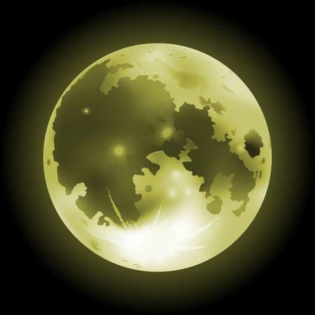 Vector illustration of yellow full Moon on a dark background Иллюстрация