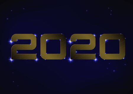 Vector illustration of bronze metallic number 2020 over blue night sky