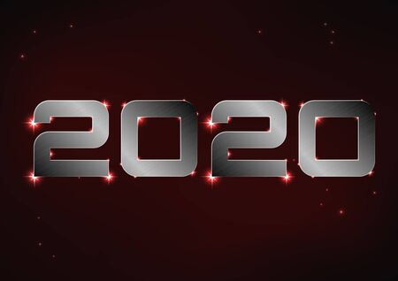 Vector illustration of steel metallic number 2020 over red night sky Иллюстрация
