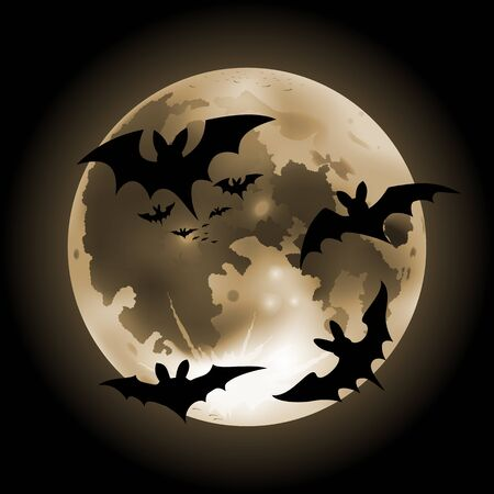 Vector illustration of halloween orange full Moon on a dark background with bats