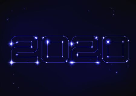 Vector illustration of blue number 2020 in style of constellation