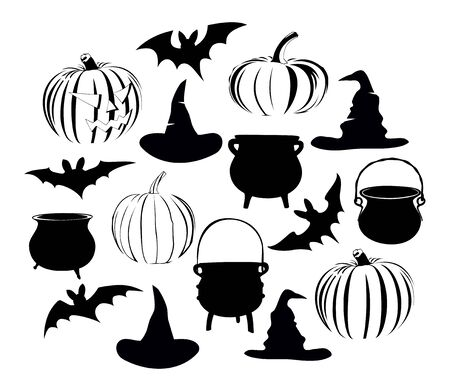 vector illustration of simple halloween icons/objects. Bats, hats ,pots and pumpkins