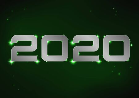 Vector illustration of silver metallic number 2020 over green night sky Иллюстрация