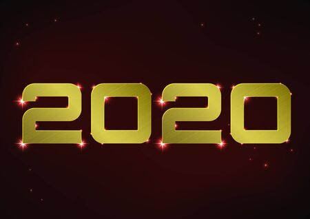 Vector illustration of golden metallic number 2020 over red night sky