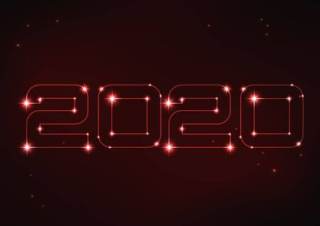 Vector illustration of red number 2020 in style of constellation
