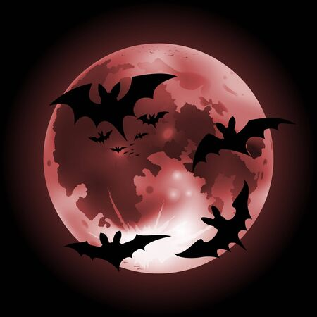 Vector illustration of halloween red full Moon on a dark background with bats Иллюстрация