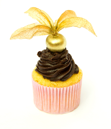 Corn flour Cupcake with chocolate and physalis top photo