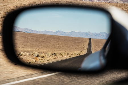Car mirror, Followed by a car in the desert, paranoia