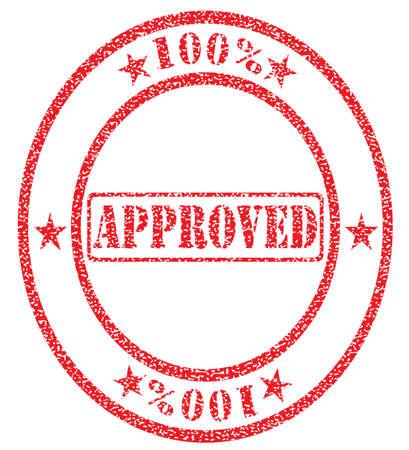 approved stamp: cien por ciento aprobado el sello Vectores