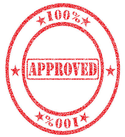 hundred percent approved stamp Vector