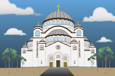 Illustration of the Saint Sava Temple in Serbia Belgrade on Vracar 일러스트