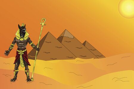 Illustration of Egyptian god Anubis standing in front of the Pyramids of Giza and holding his stick in his hand