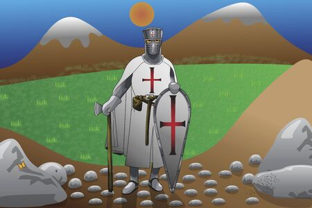 Knight Templar stands in nature with an ax behind him are mountains with snow on top