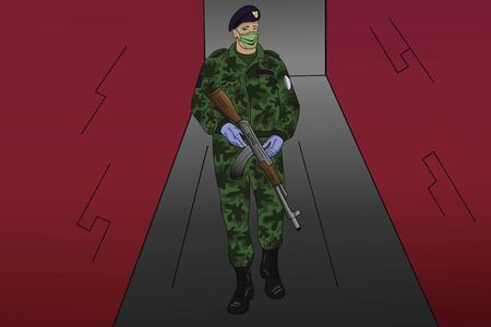 Illustration of a soldier with a medical mask on his face patrolling the streets and protecting citizens from the pandemic