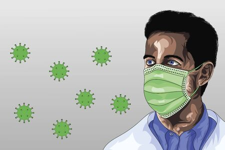 Illustration of a doctor with a medical mask on his face to protect himself from the virus corona