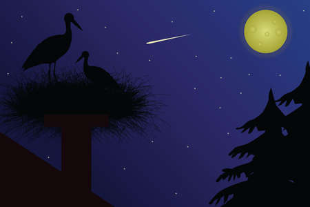 Flat illustration of a stork in a nest on the roof at night