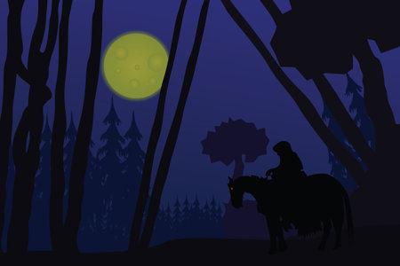 Flat illustration of a black rider in the moonlight riding through a forest bringing evil Standard-Bild