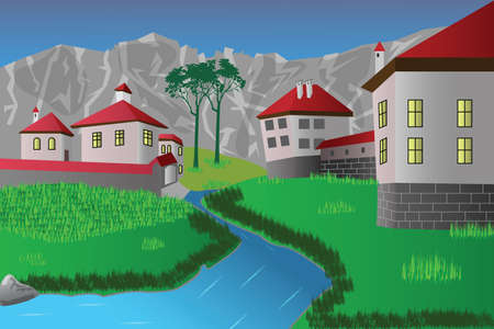 Flat illustration of a mountain farmhouse by the river