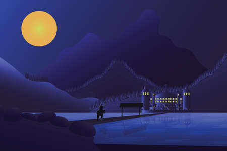 Flat illustration of a night rider in a hurry riding across a pier on a lake towards a castle located in front of the mountains Standard-Bild