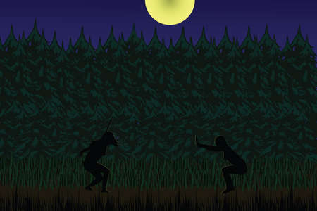Flat illustration of two girls fighting in the moonlight