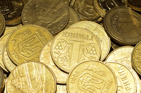 Coins close up, wallpaper, Ukrainian money, hryvnia.