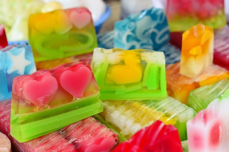 Natural soap of different colors