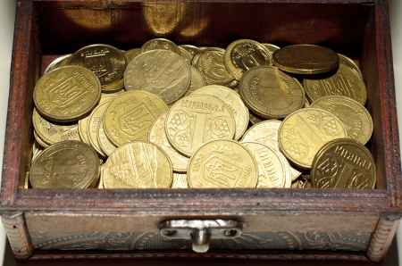 Coins close up, wallpaper, Ukrainian money, hryvnia