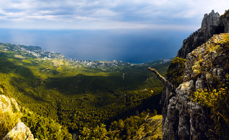 Panorama of the mountains and the sea Stock Photo