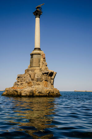 Sevastopol historical monument in the Black Sea. Summery. Tourism and hiking.
