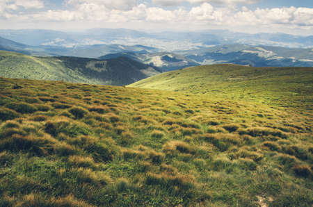 Beautiful mountain landscape from the top of the mountain Hoverla, Ukraine. Green grass, clouds and perspective.