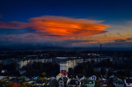 Unusual sky. During sunset. Simferopol. Crimea. Ukraine.