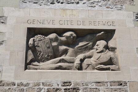 bas relief: bas relief in Geneva Stock Photo