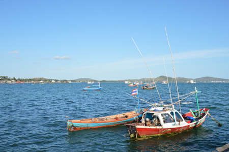 fishery boats floating on the bay Stock Photo