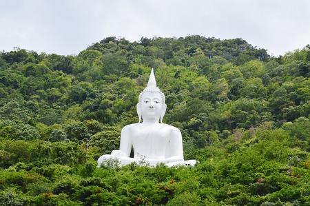 white Buddha in the mountain photo