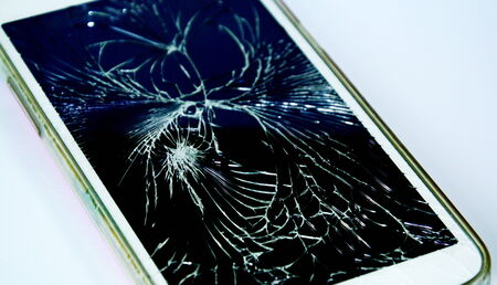 cell damage: broken touch screen cell phone Stock Photo