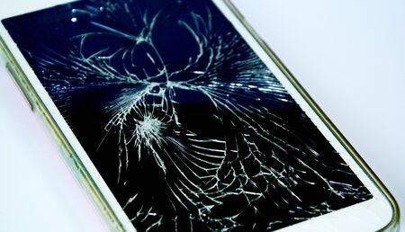 loosen: broken touch screen cell phone Stock Photo